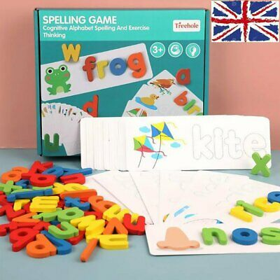 Early Education English Spelling Toy Wooden Cardboard Alphabet Game Educational • 9.36£