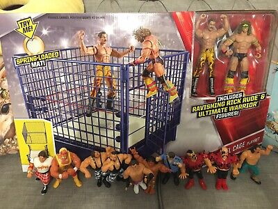 WWE Classic Steel Cage Ring Playset (with Beater Bundle Of 10 WWF Hasbros) • 160£