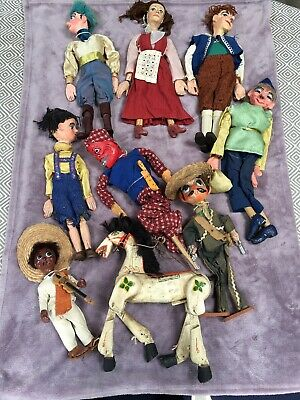 Rare Set Of 9 Vintage Hand Made 16 Inch Marionette Puppets • 150£