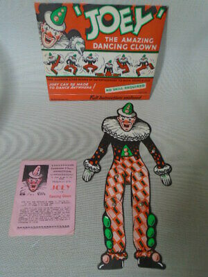 Vintage 1940s Joey The Amazing Dancing Clown Paper Doll Puppet Articulated • 18£