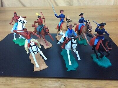 7 X Vintage Timpo Cowboys & Indians On Horseback • 10£