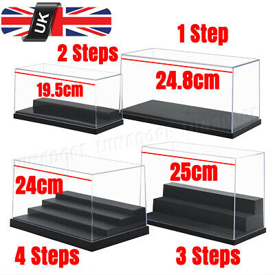 1/2/3/4 Steps Acrylic Display Case Clear Perspex Box Dustproof Action Figures UK • 14.19£
