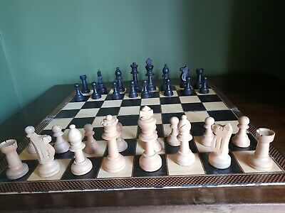 Vintage Large-size Weighted Staunton, European Upright  Style Chess Set FREE P&P • 35£
