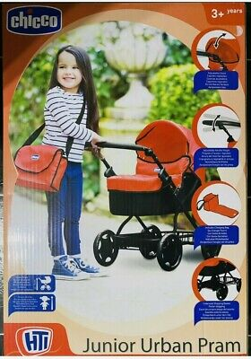 BRANDNEW Toy Chicco Junior Urban Pram With Accessories Doll/Toddler Play Pram UK • 30£
