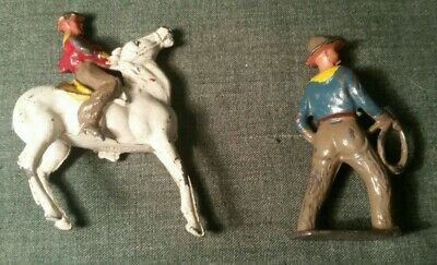 Vintage Crescent Lead Cowboy On His Horse With One On Foot With A Rope • 6.99£