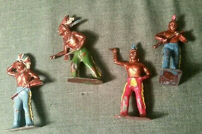 Vintage Crescent Rare Lustrewear Lead Group Of Indians In Various Pose • 1.99£