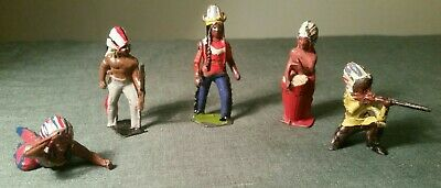 Vintage Crescent Lead Group Of 5 Indians In Various Poses Including Drum  • 1.99£