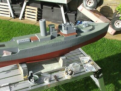 1/48th FLOWER CLASS CORVETTE-PART BUILT WITH FITTINGS-& PLAN • 440£