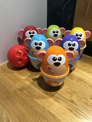 Chicco Monkey Strike Skittles *Barely Used* Bowling Childrens Indoor Play • 6£