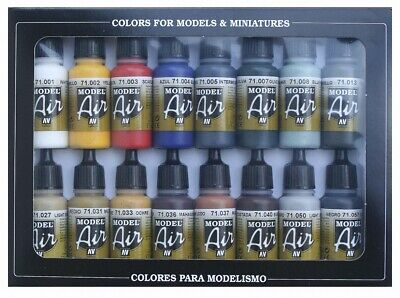 Vallejo Model Air Basic Colors Acrylic Paint Set For Air Brush - 71178 • 25.99£