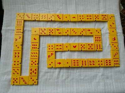 Yellow And Red Plastic Click Together Children's Dominos • 3£