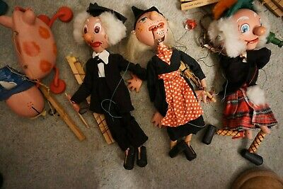 Pelham Puppets - Witch, MacBoozle, School Master And Ermintrude - VERY WORN COND • 1.20£