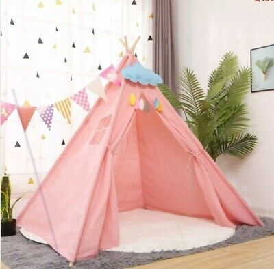 Large Canvas Kids Teepee Indian Tent Childrens Wigwam Indoor Outdoor Play House • 19.58£