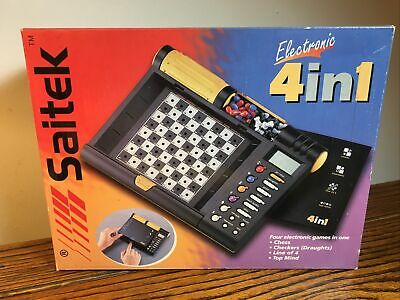 Saitek Electronic 4 In 1 Games Vintage 1999 Chess Checkers Line Of 4 Top Mind • 35£