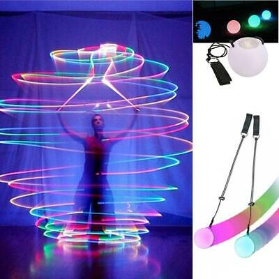 LED Multi-Colored Glow POI Thrown Balls Light Up For Belly Dance Hand Props TS • 5.72£