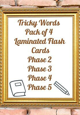 Tricky Words Laminated Flash Cards Educational Home Learning Pack Of 4 Phases  • 3.90£