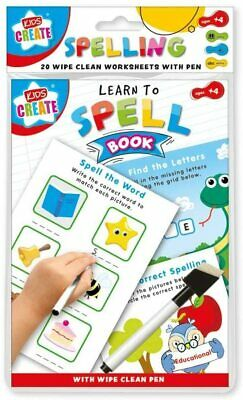 Kids Create A5 Learn To Spell Book 20 Wipe-Clean Learning Worksheets With Pen  • 2.65£