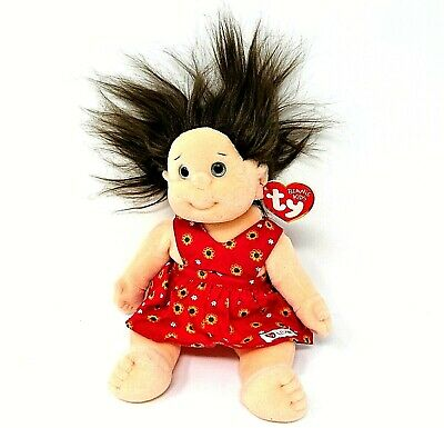 Ty Beanie Kids COOKIE 1995 Girl Doll  TY Gear RED FLORAL DRESS Swing Tag Vgc • 6.99£