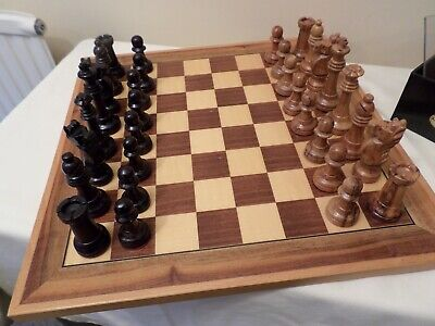 Wooden Chess Board And Chess Pieces, From Spain • 41£