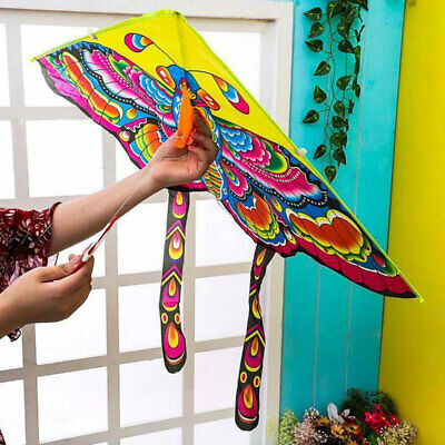 90*50cm Kids Butterfly Kite Children Toy Outdoor Flying Game Activity With Tail • 4.79£