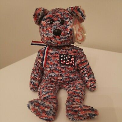 Ty Beanie Babies Retired 'USA Red, White & Blue Bear. 2000 . Mint With Tags • 4£