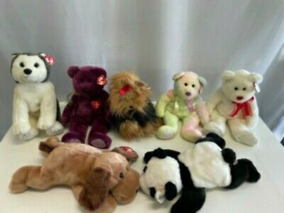 7 TY Beanie Buddies Tagged, Rare, Collectable Bears Panda Dog • 15£