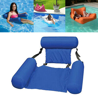 Summer Beach Swimming Pool Inflatable Hammock With Backrest Chair Float Lounge • 18.19£