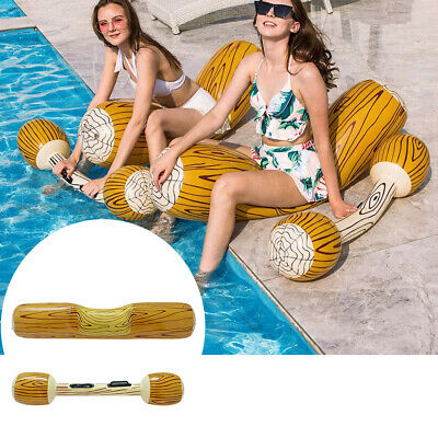Adult Children Wood Grain For Games Swimming Pool Float Log Rafts Water Sports • 38.48£