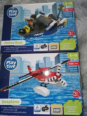 Playlive Bundle Police Boat And Seaplane Construction Building Bricks  • 8£