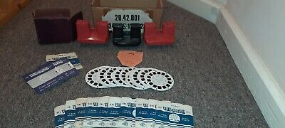 VINTAGE VIEWMASTER RED AND BLACK MODELS VIEWER RARE ORIGINAL 1970's TOY + DISCS • 20£