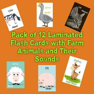 Pack Of 12 Laminated Flash Cards Farm Animals Sounds Kids Learning Education • 5.60£