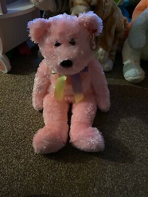 Sherbet Ty Pink Bear Bow Beanie Buddy With Tag • 15£