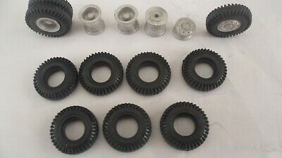 Wheels + Tyres For Heavy Haulage Lorry Truck 6x4, 24x5mm 1/48 1/50 Whitemetal. • 6.50£