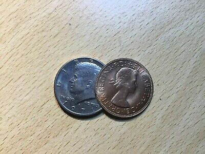 Half Dollar,english Penny Copper Silver By Eddie Gibson Gimmick+regular Coin • 10£