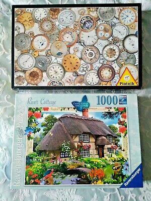 Two Complete Jigsaws - Ravensburger River Cottage + Piatnik Pocket Watches   • 3.99£
