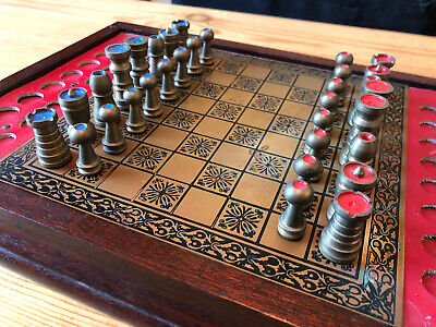 Vintage Blue Vs Red Brass Chess Set Complete • 75£