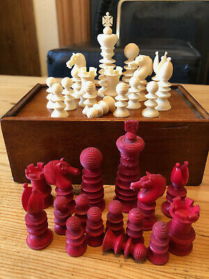Antique William Lund Chess Set, With Box, Circa 1850, King 77mm  • 495£
