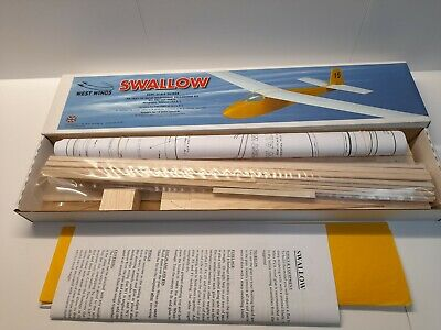 West Wings Swallow 900mm (35.5 ) Traditional Balsawood Kit - Original And As NIB • 60£