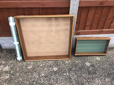 Two Wooden Wall Mounting Model  Car Display Cabinets • 30£