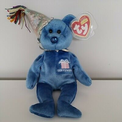 Ty Beanie Babies Blue September Birthday Bear. Mint With Tags • 1.50£