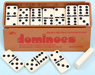 New Double Six Dominoes With Spinners In The Box With Slide Lid Ivory Dominos • 7.99£