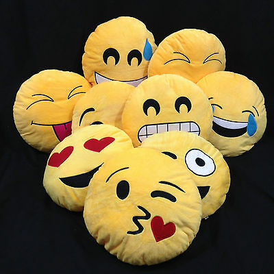 NEW Emoji Emoticon Yellow Round Cushion Soft Toys Pillow Plush • 5.49£