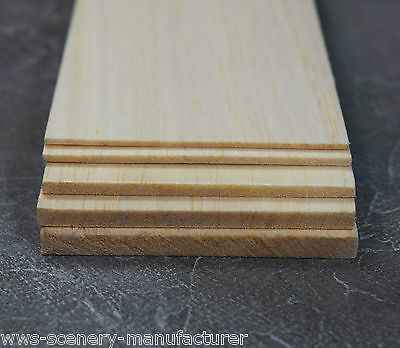WWS Balsa Wood Sheet 12  (305mm) Long 3  Wide Select Thickness Packs Of 9 • 8.99£