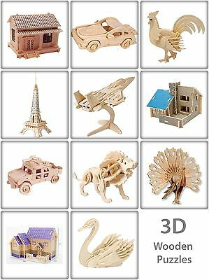 3D Wooden Puzzle Jigsaw Woodcraft Modelling Puzzle Toy Kit Gift DIY Construction • 3.99£