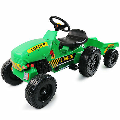 NEW! Childrens Pedal Ride On Green Super Kids Farm Tractor With Toy Trailer • 51.99£