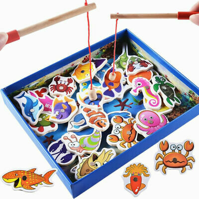 Baby Kids Magnetic Fishing Game 3D Jigsaw Puzzle Board Wooden Educational Toy UK • 8.59£