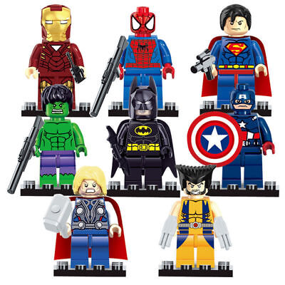 8Pcs Avengers Superheroes Batman Hulk Superman Mini Figures Building Blocks Toys • 6.99£