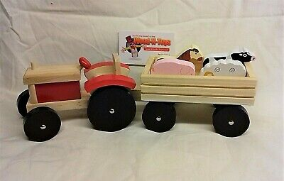 Wooden Tractor And Trailer With Farm Animals • 14.50£