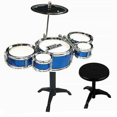Childs Kids Drum Kit Jazz Band Sound Drums Play Set Musical Toy With Stool • 10.99£