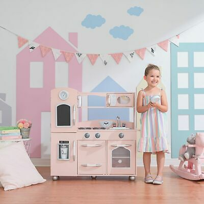 Pink Wooden Toy Kitchen With Fridge Freezer And Oven By Teamson Kids TD-11414P • 149.99£